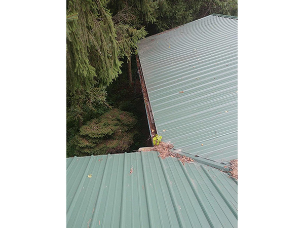 Gutter Guards Installed on Metal Roof - Before