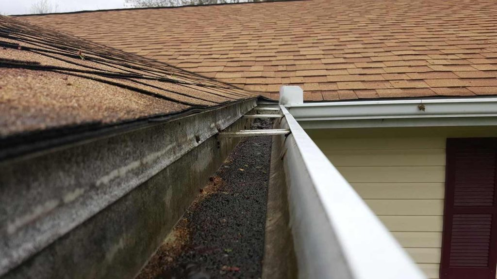 Gutter Protection Installed for Shingle Grit - Before